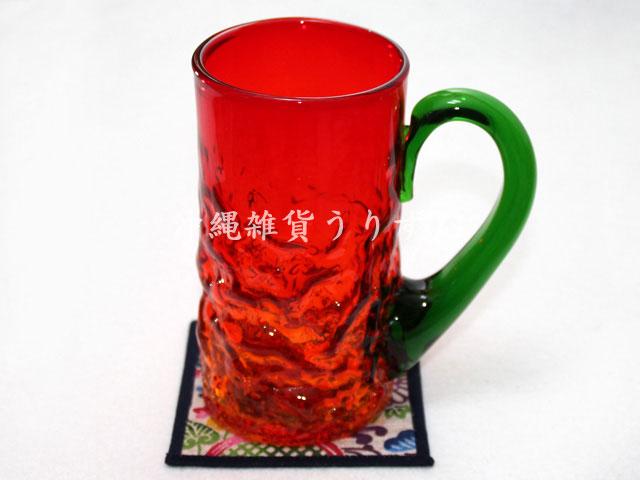 琉球ガラスのビールジョッキと紅型柄コースターのギフトセット