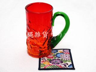 琉球ガラスのビールジョッキと紅型柄コースターギフトセット