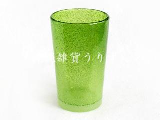 琉球ガラスの泡ロンググラス緑色
