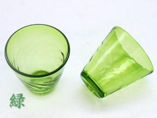 琉球ガラスの緑色のグラス