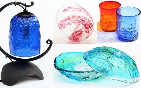 琉球ガラスのランプ、グラス、ガラス皿